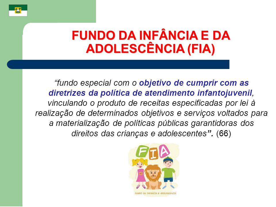 FUNDO DA INFÂNCIA E DA ADOLESCÊNCIA (FIA) fundo especial com o objetivo de cumprir com as diretrizes da política de atendimento infantojuvenil, vincul