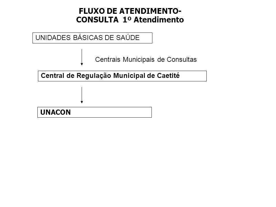 FLUXO DE ATENDIMENTO- CONSULTA 1º Atendimento UNIDADES BÁSICAS DE SAÚDE Centrais Municipais de Consultas Central de Regulação Municipal de Caetité UNA