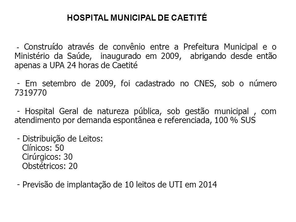 HOSPITAL MUNICIPAL DE CAETITÉ - Construído através de convênio entre a Prefeitura Municipal e o Ministério da Saúde, inaugurado em 2009, abrigando des