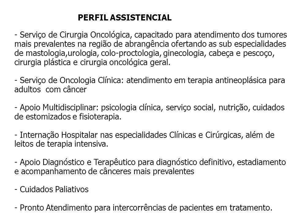 PERFIL ASSISTENCIAL - Serviço de Cirurgia Oncológica, capacitado para atendimento dos tumores mais prevalentes na região de abrangência ofertando as s