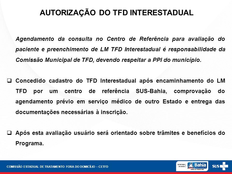 AUTORIZAÇÃO DO TFD INTERESTADUAL Agendamento da consulta no Centro de Referência para avaliação do paciente e preenchimento de LM TFD Interestadual é