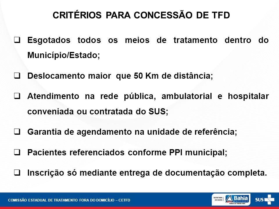 CRITÉRIOS PARA CONCESSÃO DE TFD Esgotados todos os meios de tratamento dentro do Município/Estado; Deslocamento maior que 50 Km de distância; Atendime