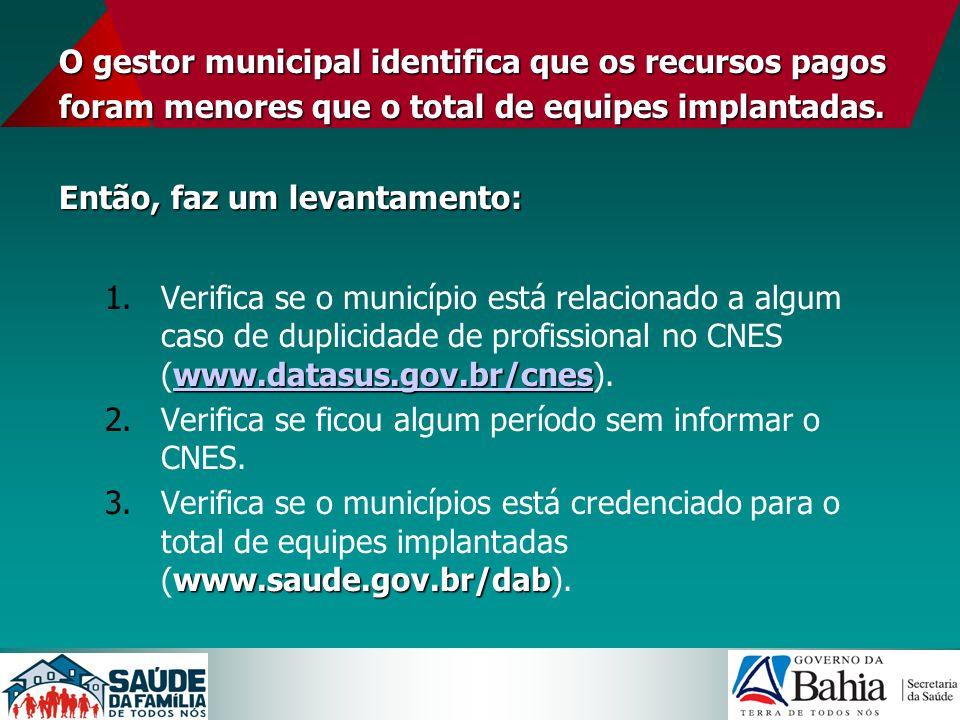 O gestor municipal identifica que os recursos pagos foram menores que o total de equipes implantadas. Então, faz um levantamento: www.datasus.gov.br/c