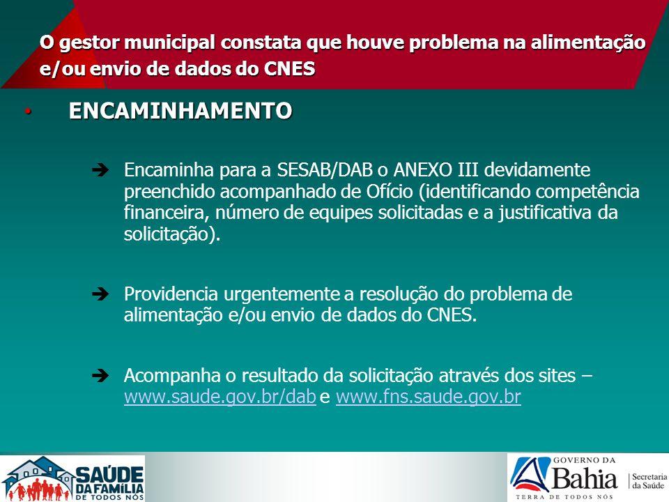 O gestor municipal constata que houve problema na alimentação e/ou envio de dados do CNES ENCAMINHAMENTO ENCAMINHAMENTO Encaminha para a SESAB/DAB o A