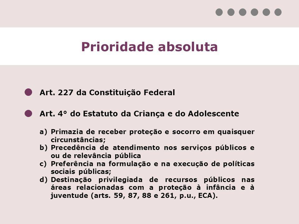 Prioridade absoluta Art. 227 da Constituição Federal Art. 4° do Estatuto da Criança e do Adolescente a)Primazia de receber proteção e socorro em quais