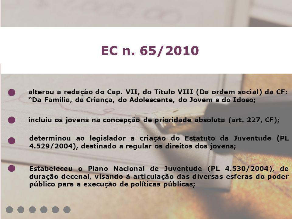 EC n. 65/2010 determinou ao legislador a criação do Estatuto da Juventude (PL 4.529/2004), destinado a regular os direitos dos jovens; Estabeleceu o P
