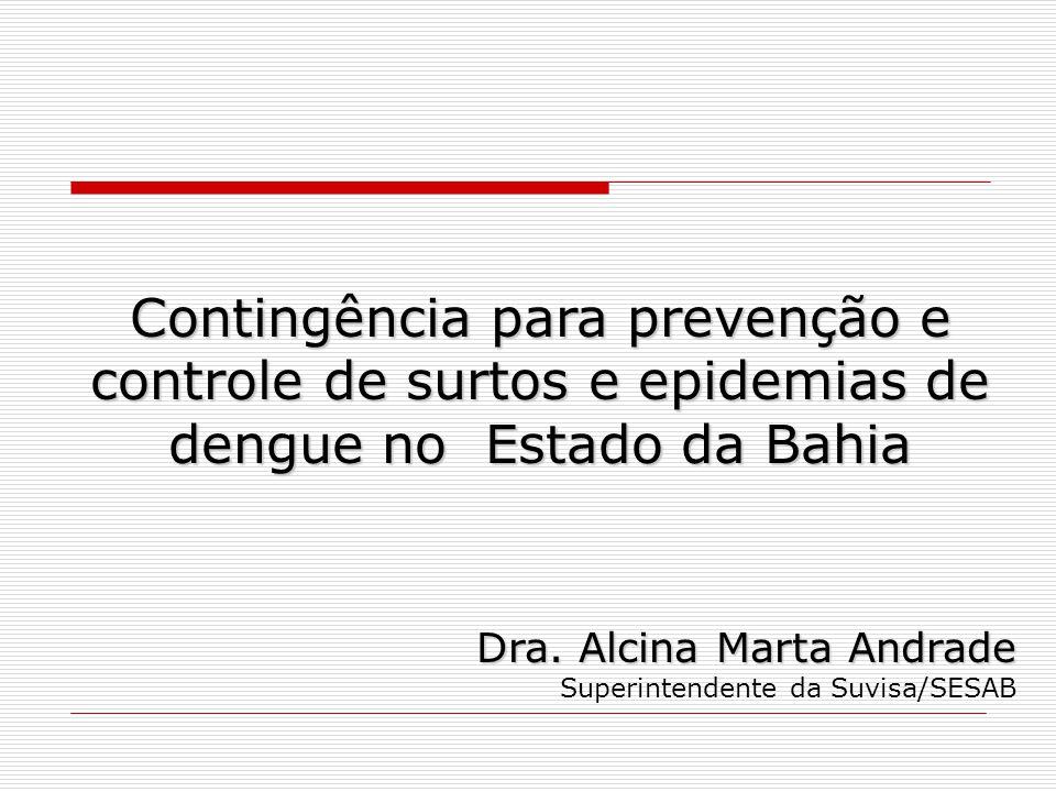 Contingência para prevenção e controle de surtos e epidemias de dengue no Estado da Bahia Dra. Alcina Marta Andrade Superintendente da Suvisa/SESAB