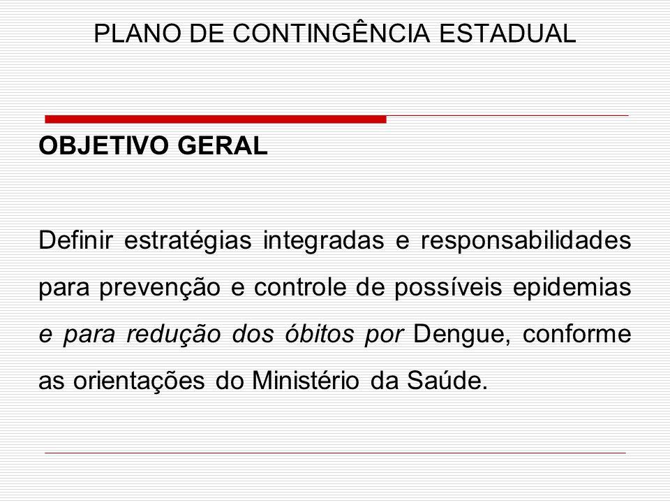 PLANO DE CONTINGÊNCIA ESTADUAL OBJETIVO GERAL Definir estratégias integradas e responsabilidades para prevenção e controle de possíveis epidemias e pa