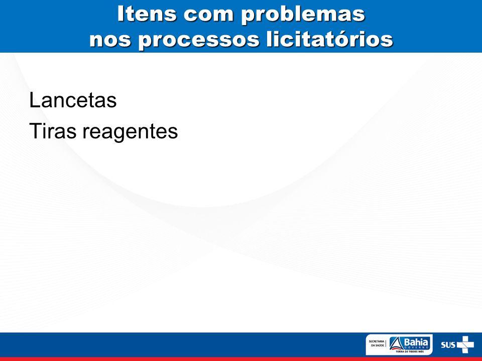 Itens com problemas nos processos licitatórios Lancetas Tiras reagentes