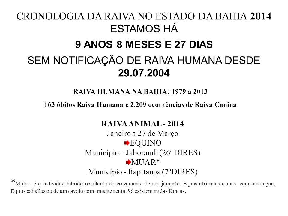 CRONOLOGIA DA RAIVA NO ESTADO DA BAHIA 2014 ESTAMOS HÁ 9 ANOS 8 MESES E 27 DIAS SEM NOTIFICAÇÃO DE RAIVA HUMANA DESDE 29.07.2004 RAIVA ANIMAL - 2014 J