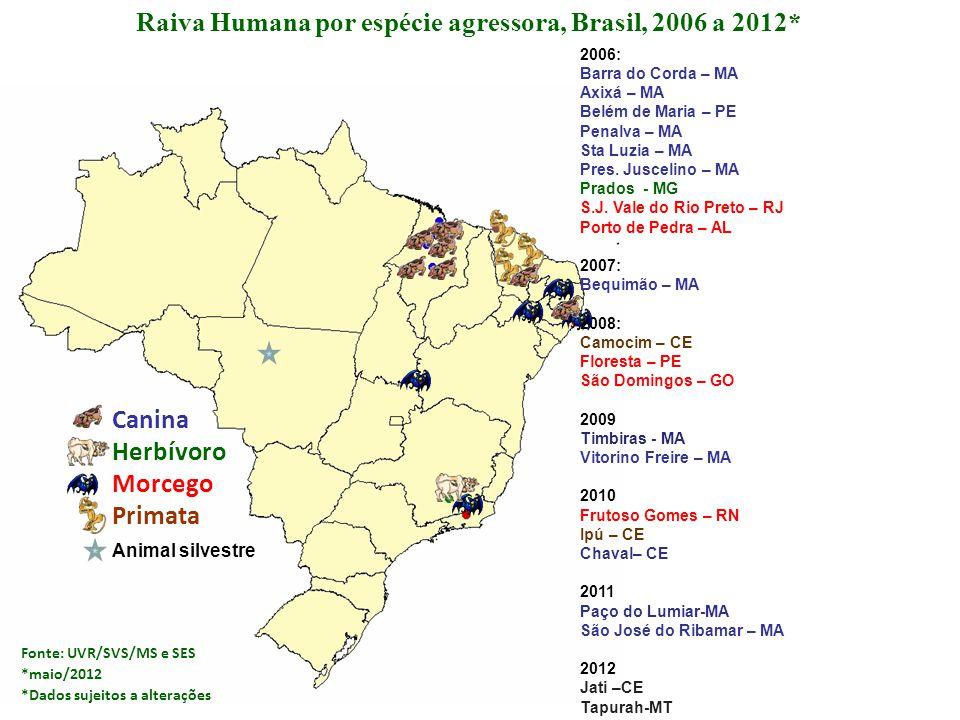 Canina Herbívoro Morcego Primata Raiva Humana por espécie agressora, Brasil, 2006 a 2012* 2006: Barra do Corda – MA Axixá – MA Belém de Maria – PE Pen