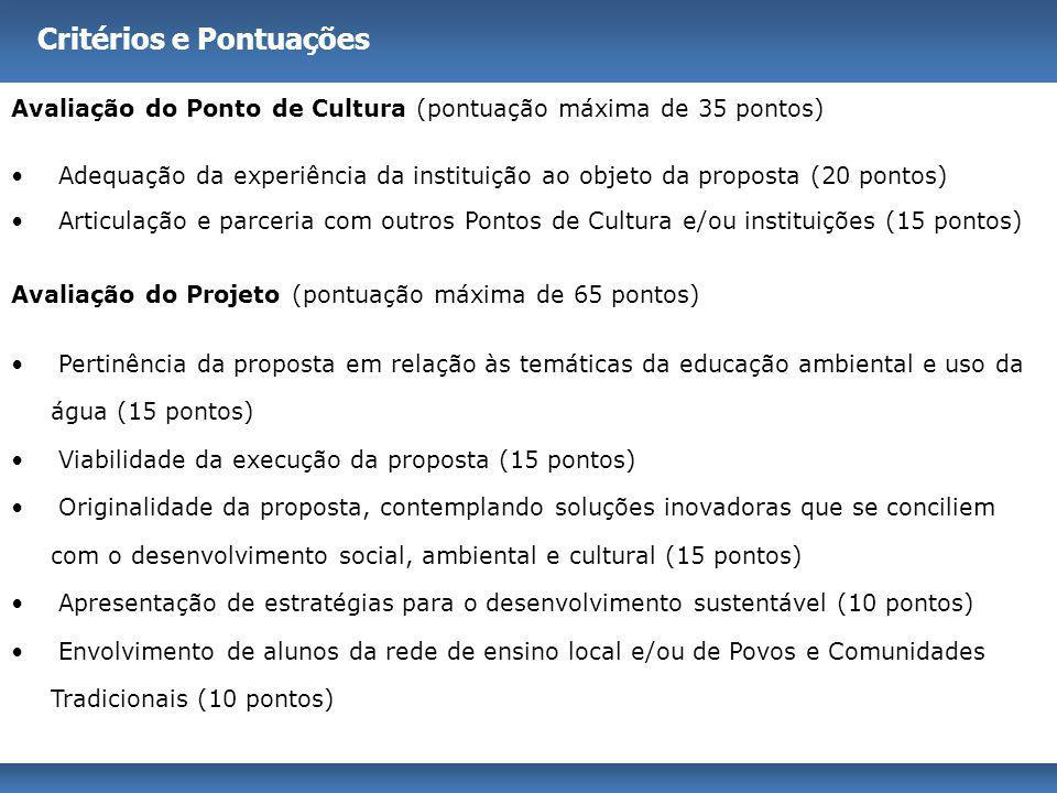 Critérios e Pontuações Avaliação do Ponto de Cultura (pontuação máxima de 35 pontos) Adequação da experiência da instituição ao objeto da proposta (20