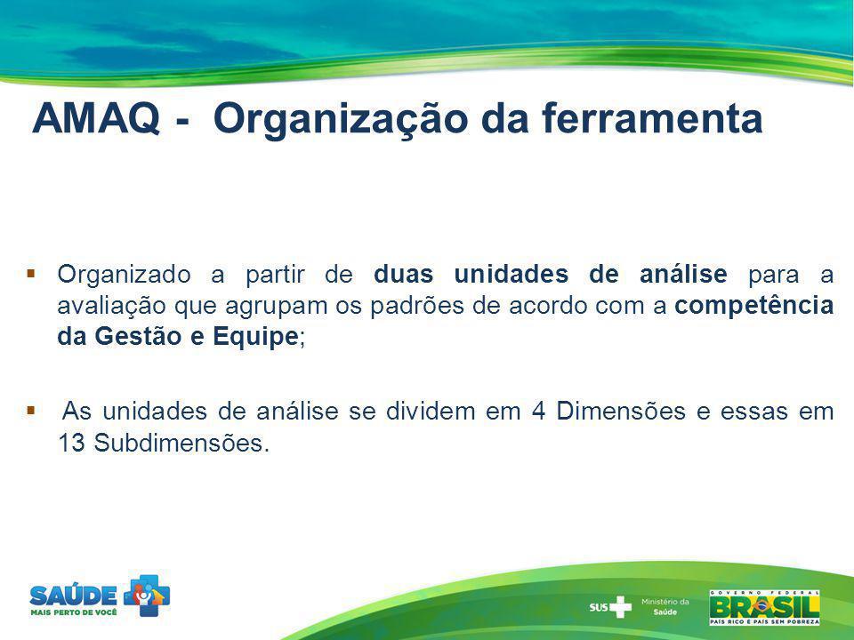 AMAQ - Organização da ferramenta Organizado a partir de duas unidades de análise para a avaliação que agrupam os padrões de acordo com a competência d
