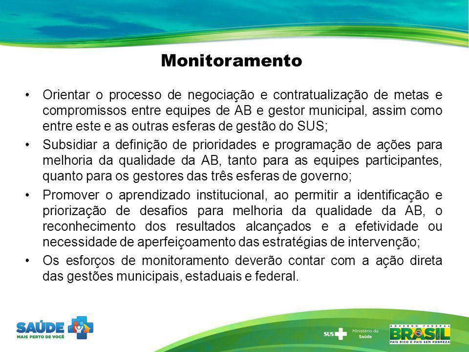 Monitoramento 16 Orientar o processo de negociação e contratualização de metas e compromissos entre equipes de AB e gestor municipal, assim como entre