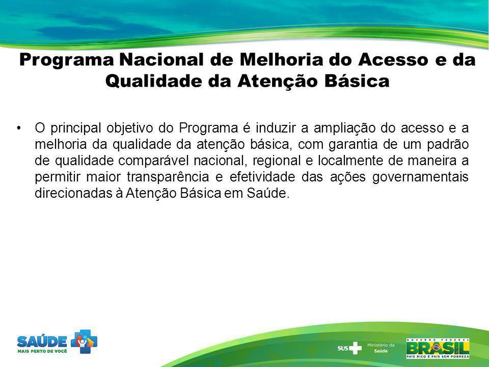 Programa Nacional de Melhoria do Acesso e da Qualidade da Atenção Básica O principal objetivo do Programa é induzir a ampliação do acesso e a melhoria