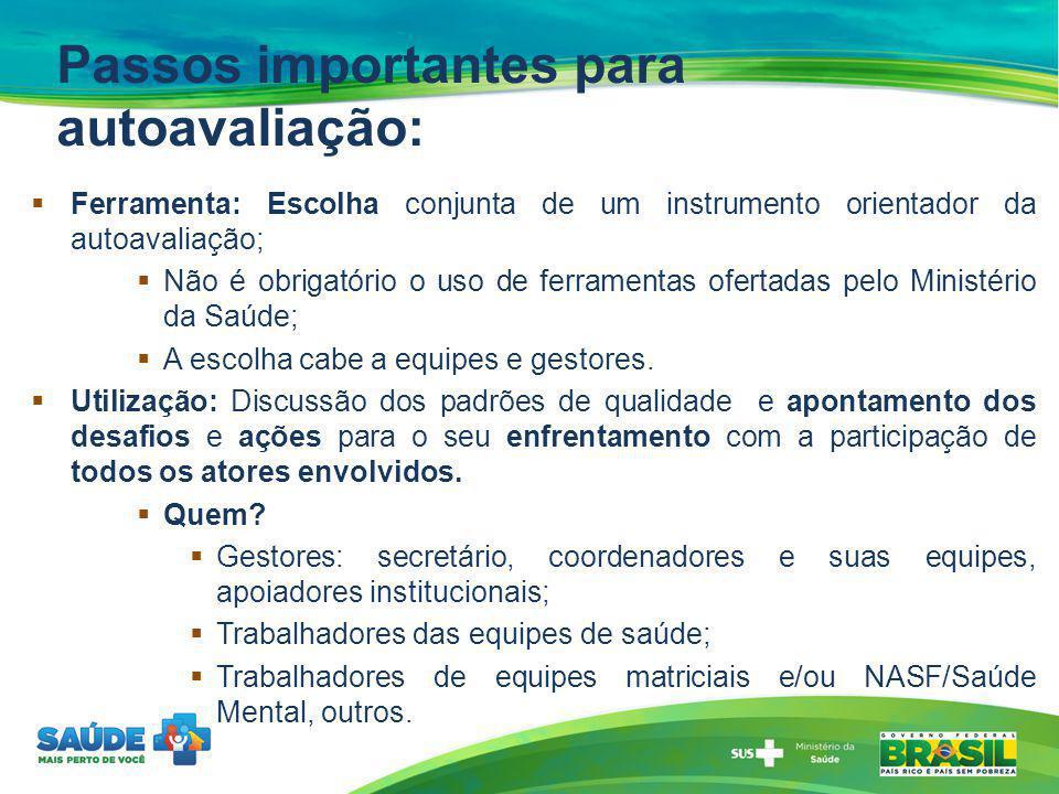 Passos importantes para autoavaliação: Ferramenta: Escolha conjunta de um instrumento orientador da autoavaliação; Não é obrigatório o uso de ferramen
