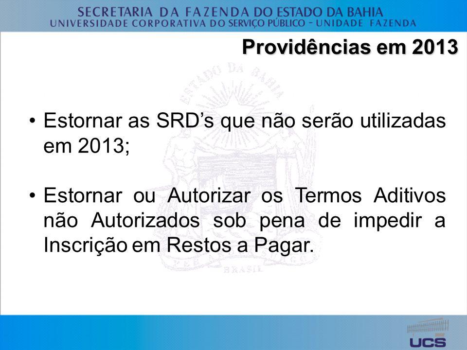 Providências em 2013 Estornar as SRDs que não serão utilizadas em 2013; Estornar ou Autorizar os Termos Aditivos não Autorizados sob pena de impedir a Inscrição em Restos a Pagar.