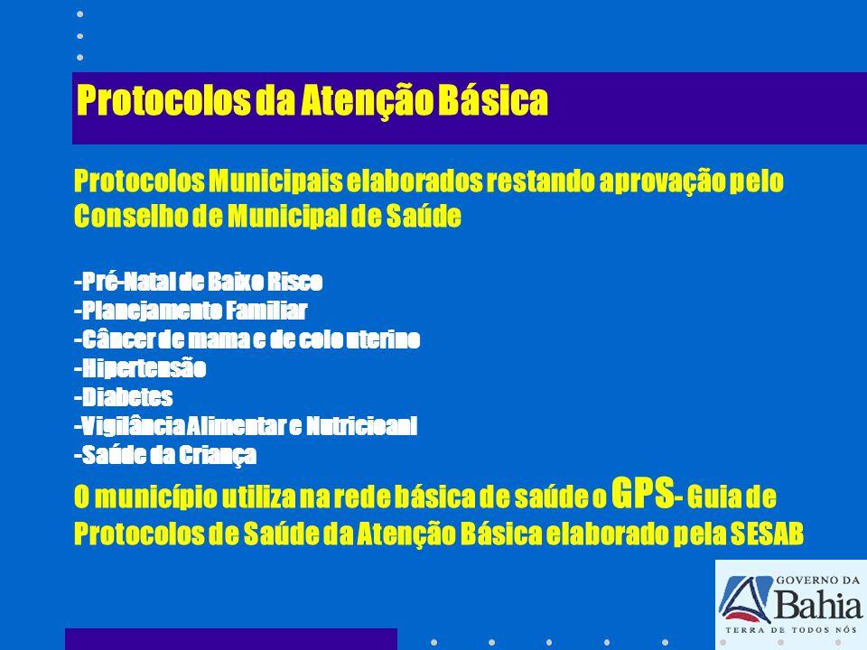 Protocolos da Atenção Básica Protocolos Municipais elaborados restando aprovação pelo Conselho de Municipal de Saúde -Pré-Natal de Baixo Risco -Planej