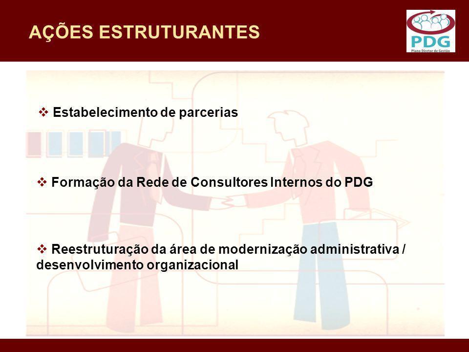AÇÕES ESTRUTURANTES Estabelecimento de parcerias Formação da Rede de Consultores Internos do PDG Reestruturação da área de modernização administrativa