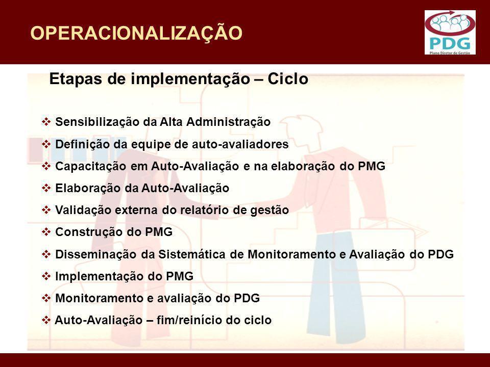 OPERACIONALIZAÇÃO Sensibilização da Alta Administração Definição da equipe de auto-avaliadores Capacitação em Auto-Avaliação e na elaboração do PMG El