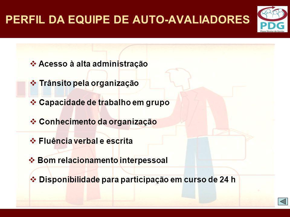 PERFIL DA EQUIPE DE AUTO-AVALIADORES Disponibilidade para participação em curso de 24 h Acesso à alta administração Trânsito pela organização Capacida