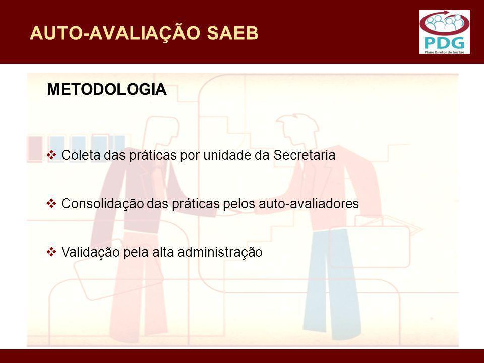 AUTO-AVALIAÇÃO SAEB METODOLOGIA Coleta das práticas por unidade da Secretaria Consolidação das práticas pelos auto-avaliadores Validação pela alta adm
