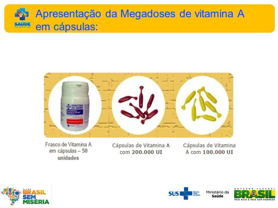 Apresentação da Megadoses de vitamina A em cápsulas: