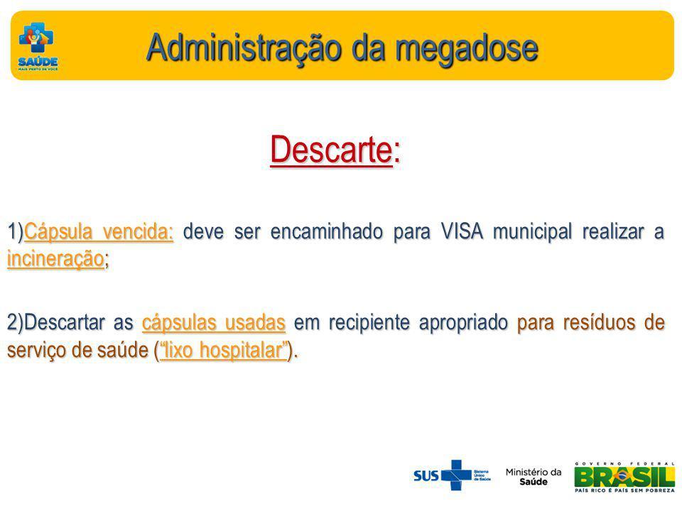 Administração da megadose Descarte: 1)Cápsula vencida: deve ser encaminhado para VISA municipal realizar a incineração; 2)Descartar as cápsulas usadas em recipiente apropriado para resíduos de serviço de saúde (lixo hospitalar).