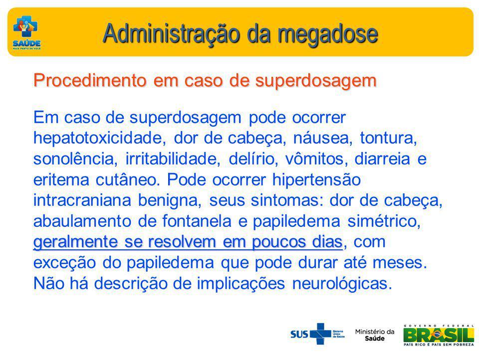 Administração da megadose Procedimento em caso de superdosagem geralmente se resolvem em poucos dias Em caso de superdosagem pode ocorrer hepatotoxicidade, dor de cabeça, náusea, tontura, sonolência, irritabilidade, delírio, vômitos, diarreia e eritema cutâneo.