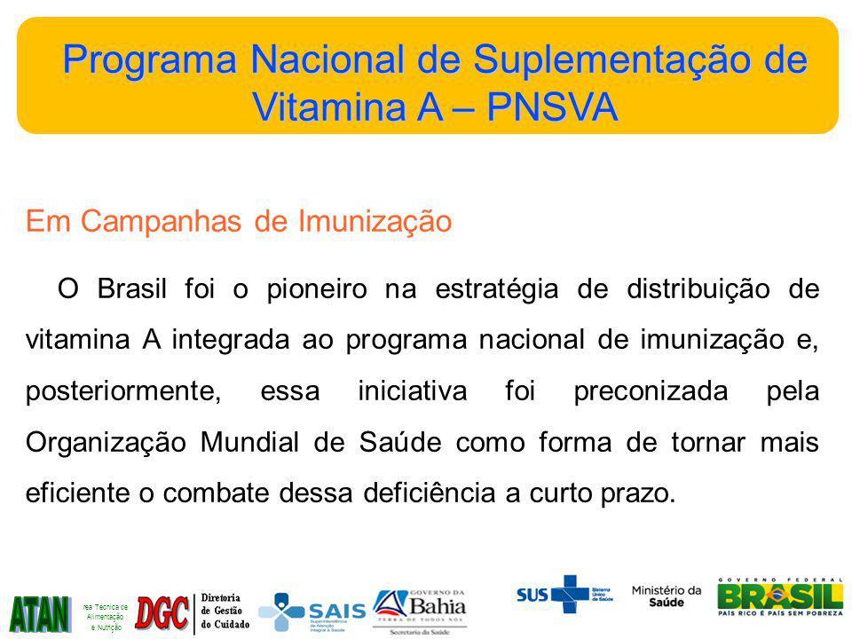Em Campanhas de Imunização O Brasil foi o pioneiro na estratégia de distribuição de vitamina A integrada ao programa nacional de imunização e, posteriormente, essa iniciativa foi preconizada pela Organização Mundial de Saúde como forma de tornar mais eficiente o combate dessa deficiência a curto prazo.