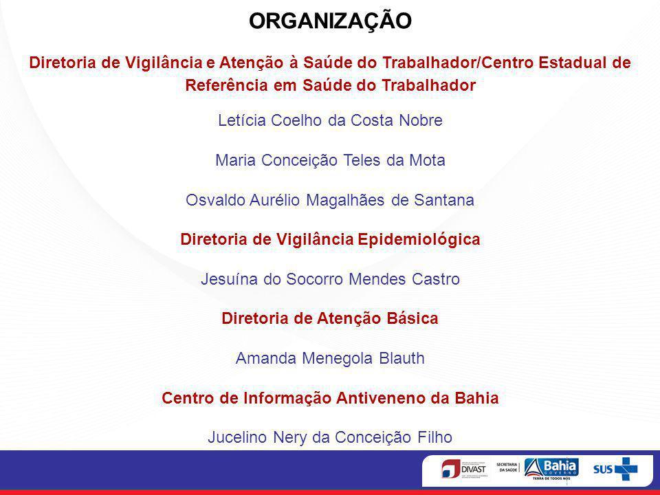 ORGANIZAÇÃO Diretoria de Vigilância e Atenção à Saúde do Trabalhador/Centro Estadual de Referência em Saúde do Trabalhador Letícia Coelho da Costa Nob