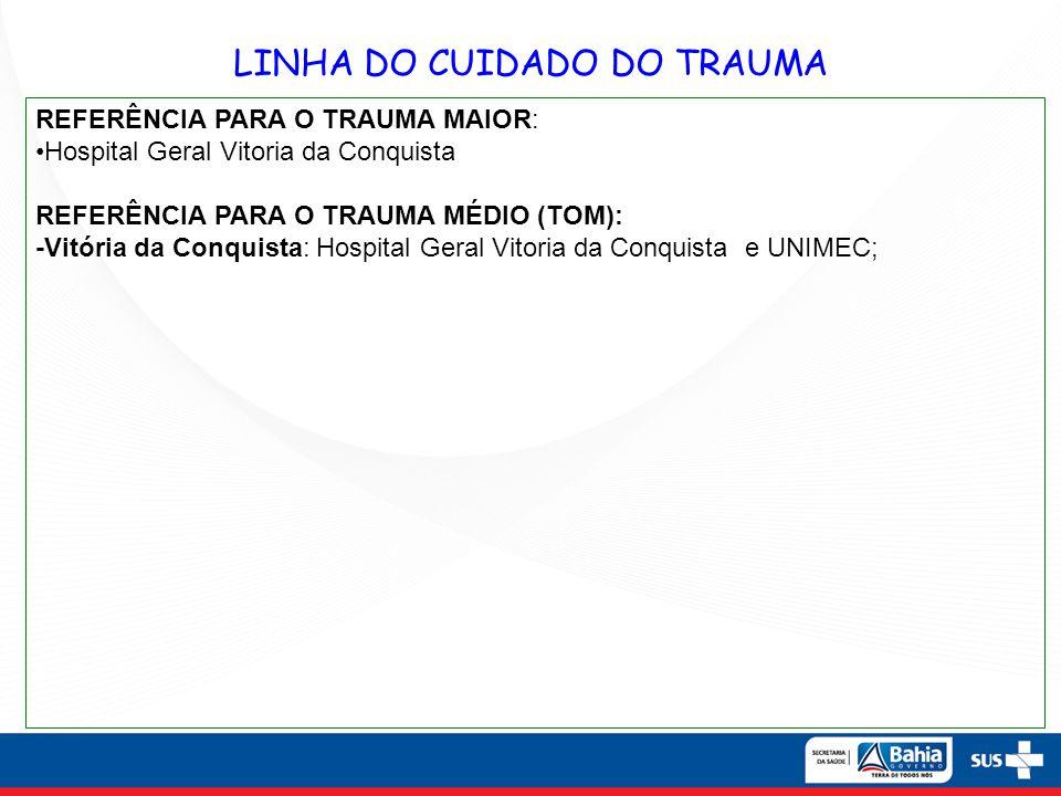 LINHA DO CUIDADO DO TRAUMA REFERÊNCIA PARA O TRAUMA MAIOR: Hospital Geral Vitoria da Conquista REFERÊNCIA PARA O TRAUMA MÉDIO (TOM): -Vitória da Conqu