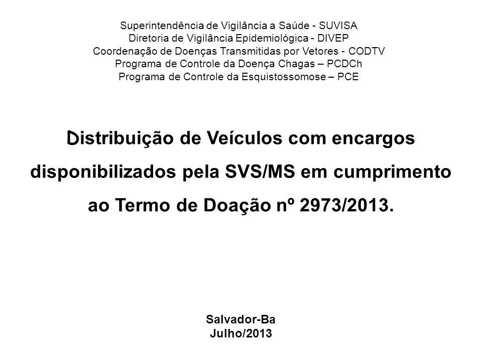 Termo de Doação Nº 2.973/2013 Termo de doação com encargos que entre si celebram a união, por intermédio do Ministério da Saúde(MS) e a Secretaria Estadual de Saúde da Bahia(SESAB).