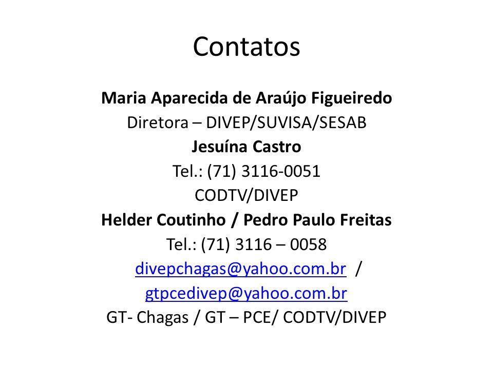 Contatos Maria Aparecida de Araújo Figueiredo Diretora – DIVEP/SUVISA/SESAB Jesuína Castro Tel.: (71) 3116-0051 CODTV/DIVEP Helder Coutinho / Pedro Paulo Freitas Tel.: (71) 3116 – 0058 divepchagas@yahoo.com.br /divepchagas@yahoo.com.br gtpcedivep@yahoo.com.br GT- Chagas / GT – PCE/ CODTV/DIVEP