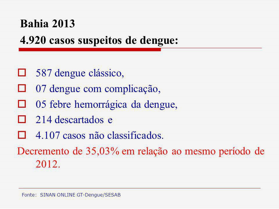 Bahia 2013 4.920 casos suspeitos de dengue: 587 dengue clássico, 07 dengue com complicação, 05 febre hemorrágica da dengue, 214 descartados e 4.107 ca
