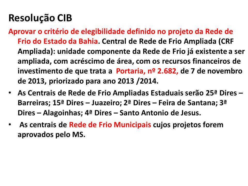 Resolução CIB Aprovar o critério de elegibilidade definido no projeto da Rede de Frio do Estado da Bahia.