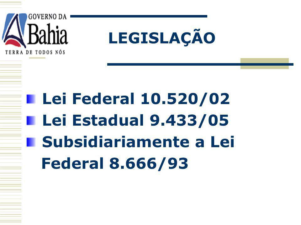 FASE EXTERNA Análise e classificação das propostas; Definição para lances verbais; Julgamento e Classificação final; Lei 9.433/05, art 120