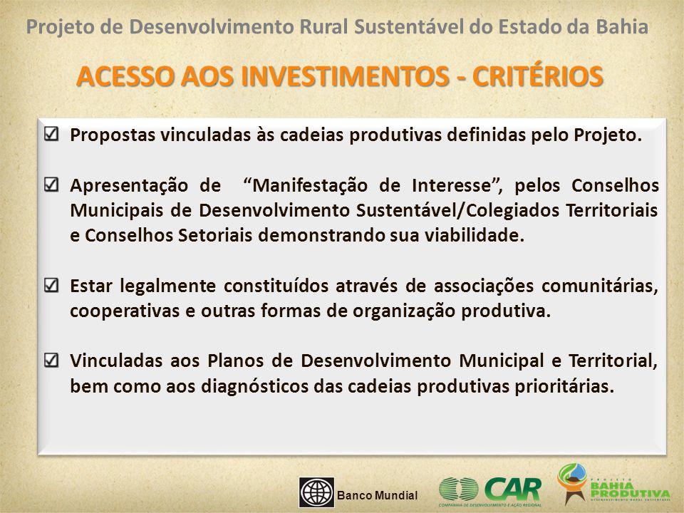 ACESSO AOS INVESTIMENTOS - CRITÉRIOS Propostas vinculadas às cadeias produtivas definidas pelo Projeto. Apresentação de Manifestação de Interesse, pel