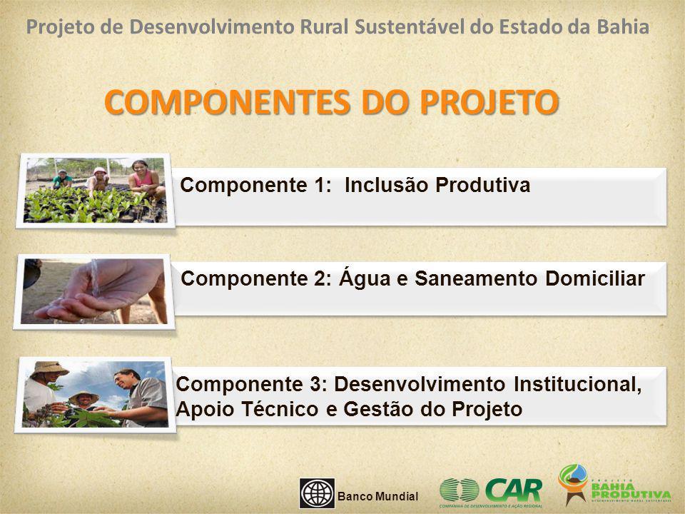 Componente 1: Inclusão Produtiva COMPONENTES DO PROJETO Componente 3: Desenvolvimento Institucional, Apoio Técnico e Gestão do Projeto Componente 2: Á