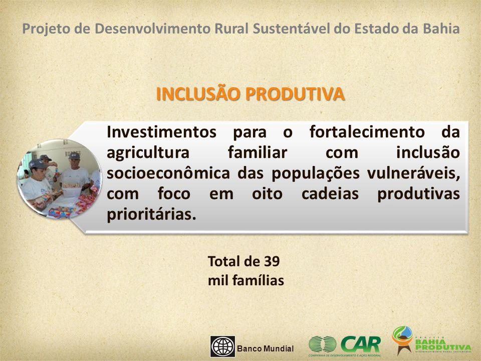 INCLUSÃO PRODUTIVA Investimentos para o fortalecimento da agricultura familiar com inclusão socioeconômica das populações vulneráveis, com foco em oit