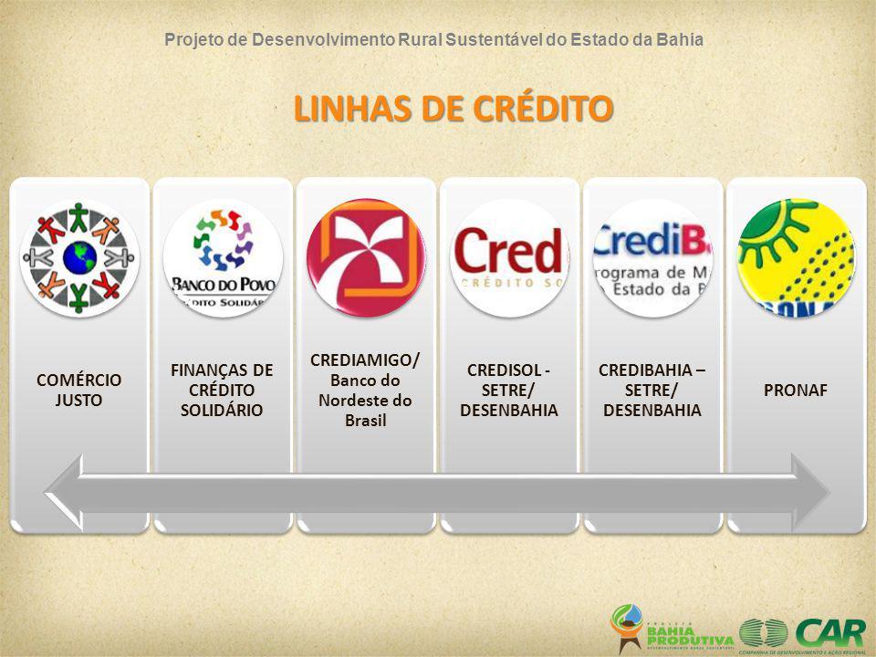 COMÉRCIO JUSTO FINANÇAS DE CRÉDITO SOLIDÁRIO CREDIAMIGO/ Banco do Nordeste do Brasil CREDISOL - SETRE/ DESENBAHIA CREDIBAHIA – SETRE/ DESENBAHIA PRONA