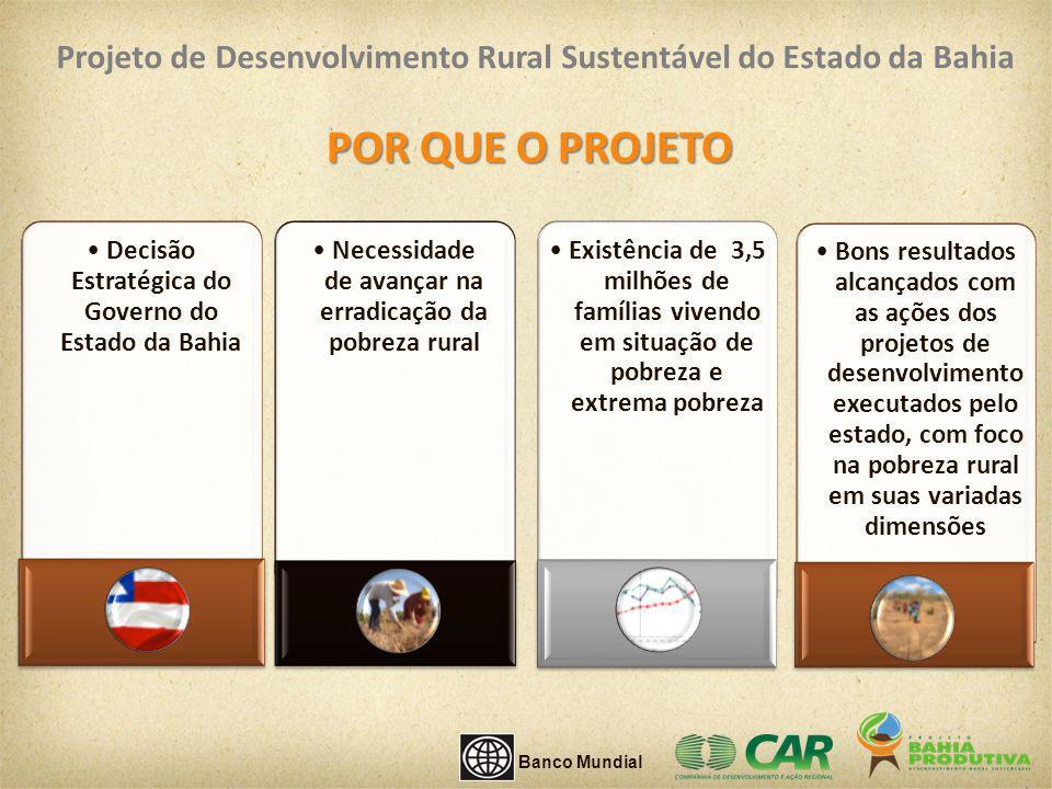 Componente 1: Inclusão Produtiva COMPONENTES DO PROJETO Componente 3: Desenvolvimento Institucional, Apoio Técnico e Gestão do Projeto Componente 2: Água e Saneamento Domiciliar Banco Mundial Projeto de Desenvolvimento Rural Sustentável do Estado da Bahia