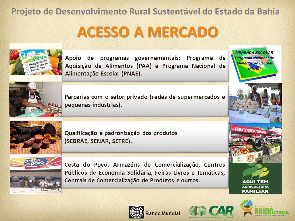 ACESSO A MERCADO Apoio de programas governamentais: Programa de Aquisição de Alimentos (PAA) e Programa Nacional de Alimentação Escolar (PNAE). Parcer