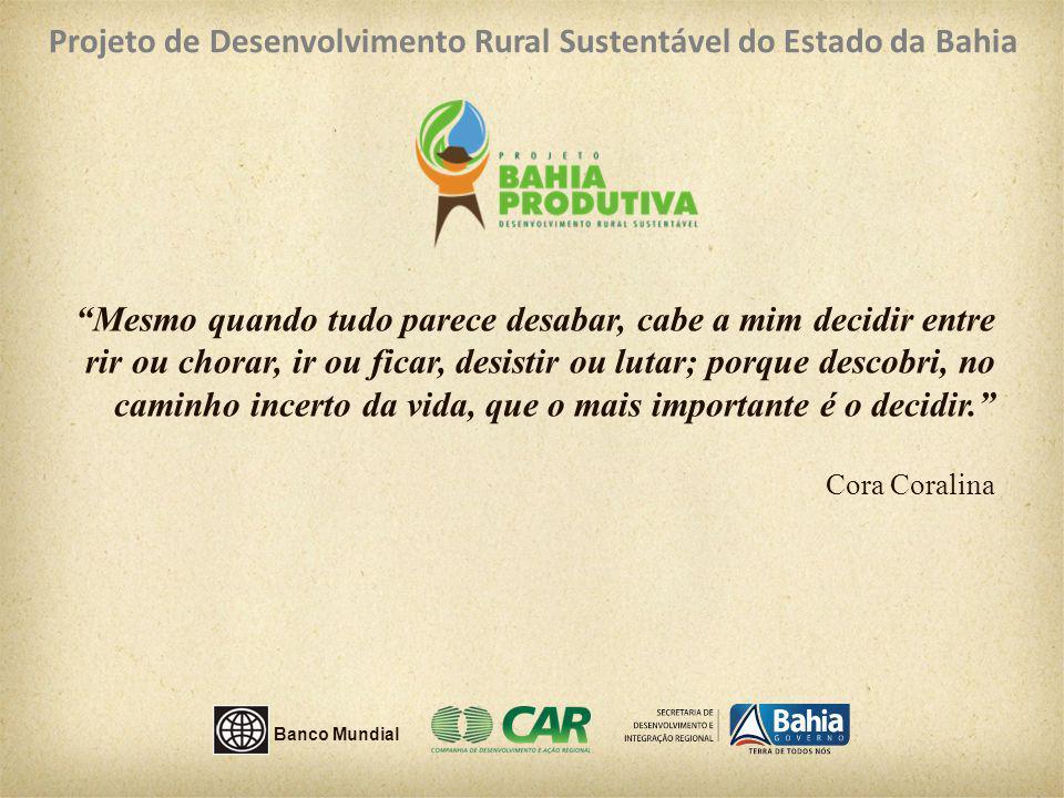 Projeto de Desenvolvimento Rural Sustentável do Estado da Bahia Mesmo quando tudo parece desabar, cabe a mim decidir entre rir ou chorar, ir ou ficar,