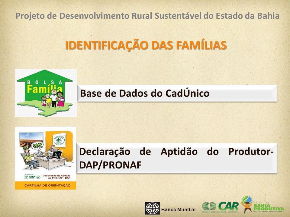 Base de Dados do CadÚnico IDENTIFICAÇÃO DAS FAMÍLIAS Declaração de Aptidão do Produtor- DAP/PRONAF Banco Mundial Projeto de Desenvolvimento Rural Sust