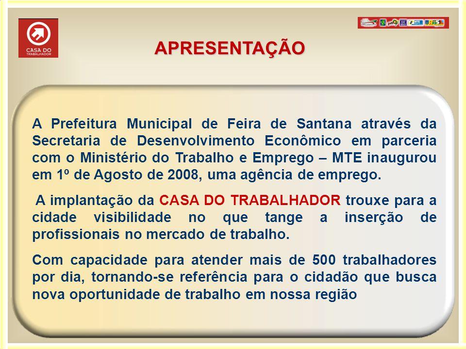 APRESENTAÇÃO A Prefeitura Municipal de Feira de Santana através da Secretaria de Desenvolvimento Econômico em parceria com o Ministério do Trabalho e