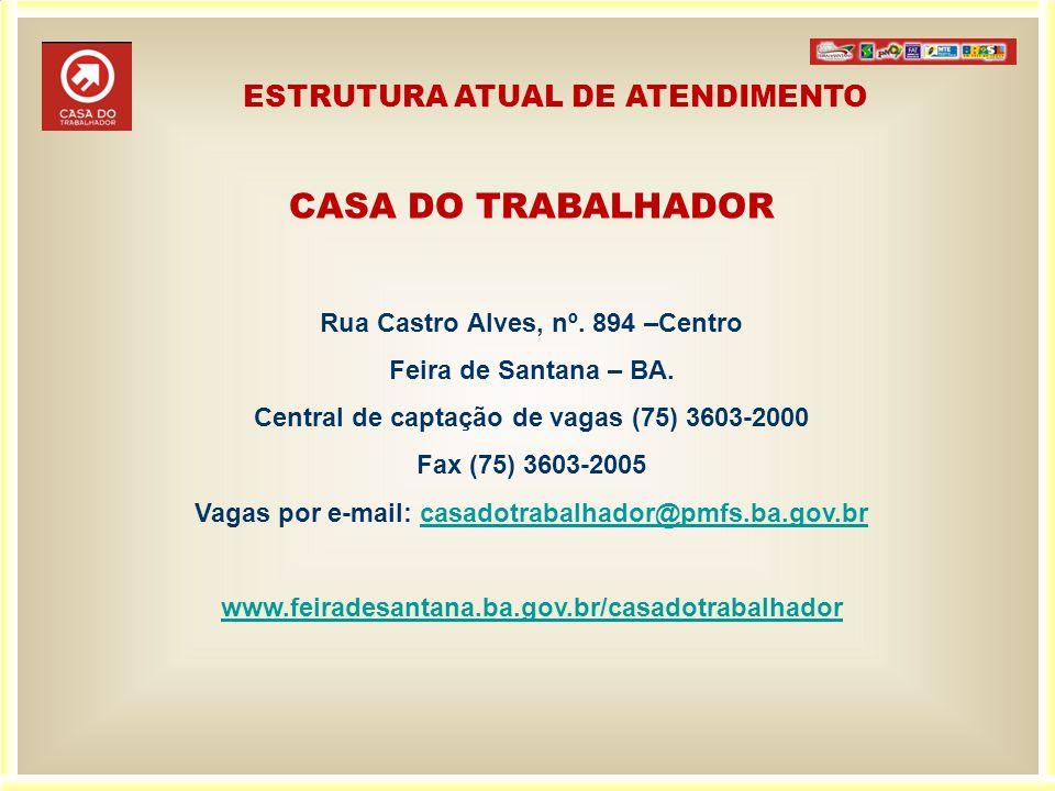 CASA DO TRABALHADOR Rua Castro Alves, nº. 894 –Centro Feira de Santana – BA. Central de captação de vagas (75) 3603-2000 Fax (75) 3603-2005 Vagas por