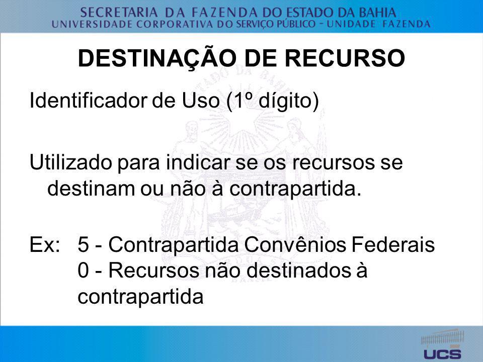 DESTINAÇÃO DE RECURSO Identificador de Uso (1º dígito) Utilizado para indicar se os recursos se destinam ou não à contrapartida. Ex:5 - Contrapartida