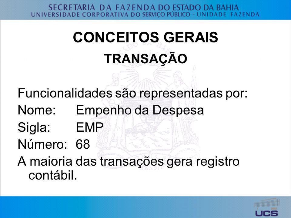 CONCEITOS GERAIS TRANSAÇÃO Funcionalidades são representadas por: Nome:Empenho da Despesa Sigla:EMP Número:68 A maioria das transações gera registro c