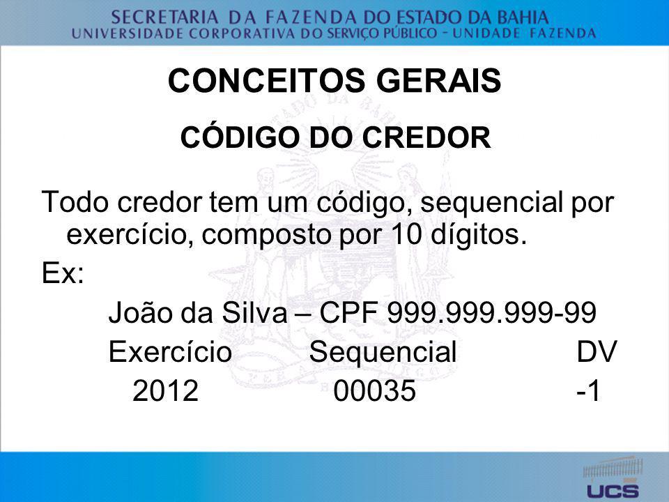 CONCEITOS GERAIS CÓDIGO DO CREDOR Todo credor tem um código, sequencial por exercício, composto por 10 dígitos. Ex: João da Silva – CPF 999.999.999-99